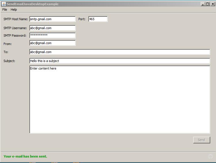 How to send an e-mail using Java Mail API (Swing Desktop