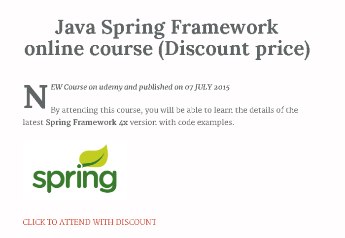 https://www.udemy.com/spring-framework-4-course-and-core-spring-certification/?couponCode=edulearnspring25