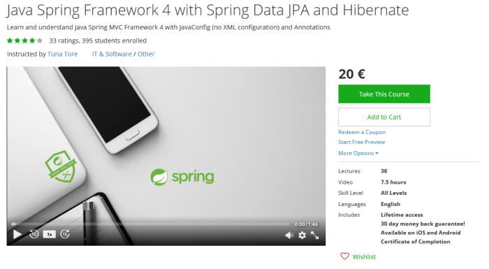 Java Spring Framework 4 with Spring Data JPA and Hibernate